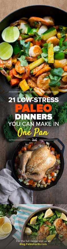 Looking for some low-stress weeknight dinners with lots of leftovers? These easy one-pot Paleo dinners will help you stay on track with your diet and simplify the cooking process. For the full recipes visit us here: http://paleo.co/OnePanDinner #paleohacks #paleo