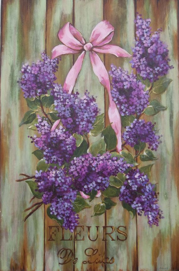 French Country Sign Cottage Chic Decor Lilac Painting