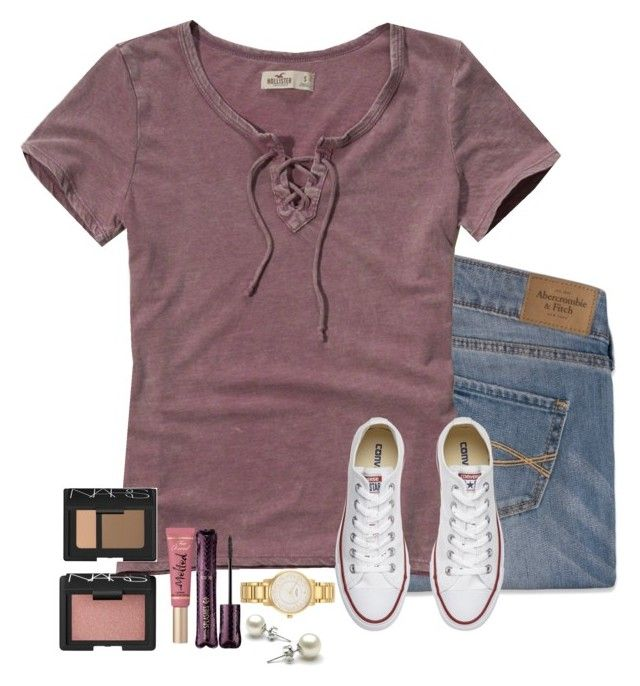 """#13"" by torideckerrr ❤ liked on Polyvore featuring Abercrombie & Fitch, Hollister Co., Converse, Kate Spade, tarte, Too Faced Cosmetics and NARS Cosmetics"