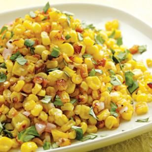 Roasted Corn with Basil-Shallot Vinaigrette-I made this for dinner tonight and it was sooo yummy!! Not a kernel left :)