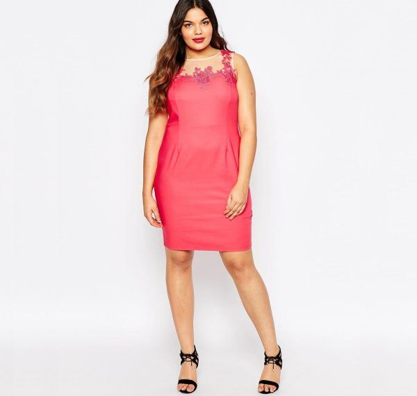 13 Cute Plus Size Summer Dresses Which You Will Love: Cute plus size coral summer pencil dress with lace applique