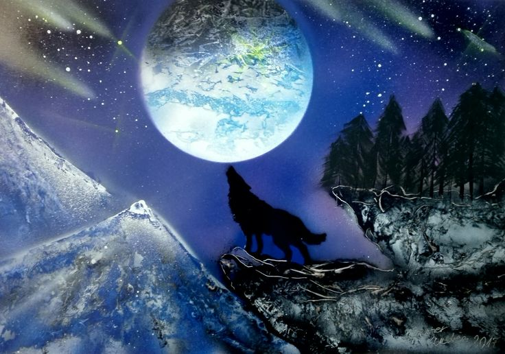 #Wolf #Moon #spray #paint #art
