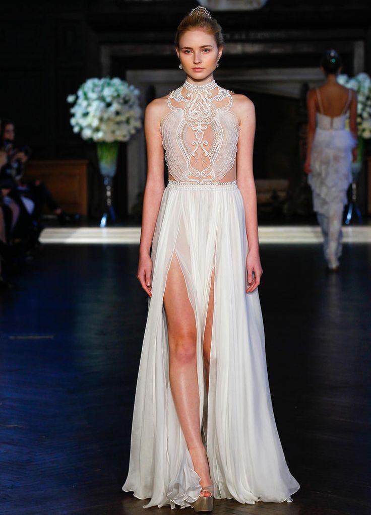Alon Livne Fall 2016 high neckline and illusion netting bodice wedding dress | https://www.theknot.com/content/alon-livne-wedding-dresses-bridal-fashion-week-fall-2016