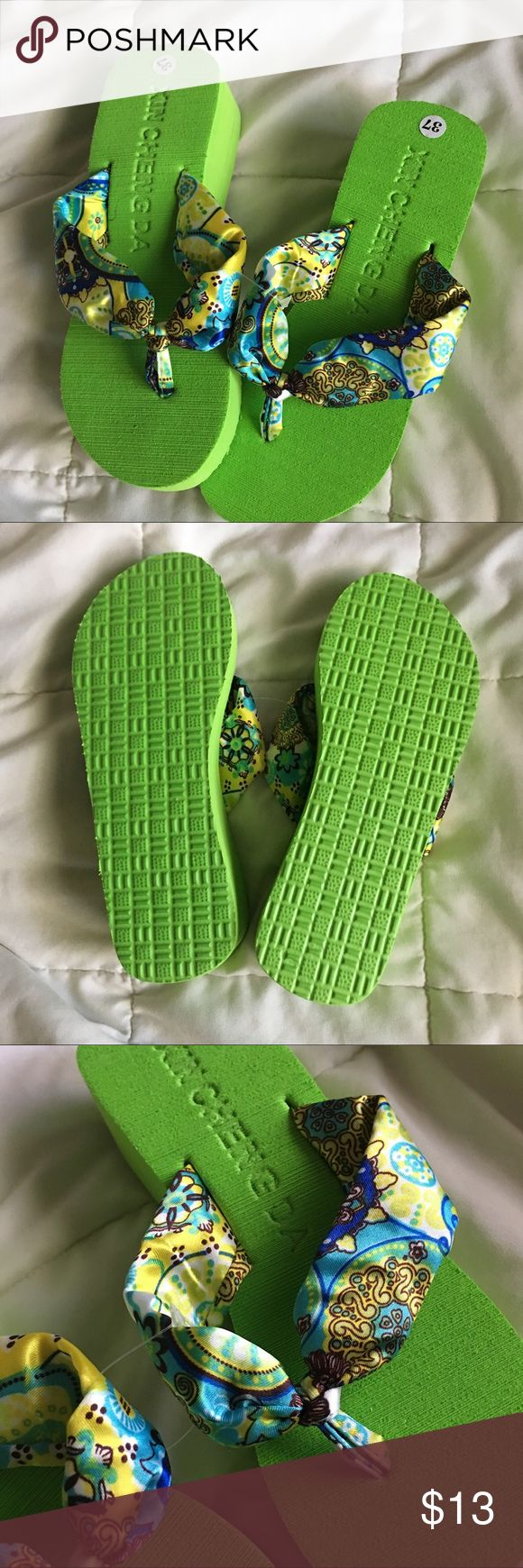 Cute Green Heeled Sandals Stylish green sandals/flipflops, perfect for a day at the beach 👙👡  - Brand new, never worn 🏷 - Marked 37 (or commonly known as a size 7) although as a size 7 myself these do not fit me. I believe they would fit a size 6 (maybe 6 1/2) properly.  - No Trades 🚫 No Paypal  If you have any questions, feel free to ask in the comments below 😊 Shoes Sandals