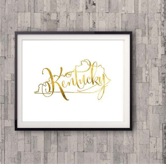 Kentucky State Map Print, Gold Foil, Home Town State Map Print, Bedroom Wall Art, Poster