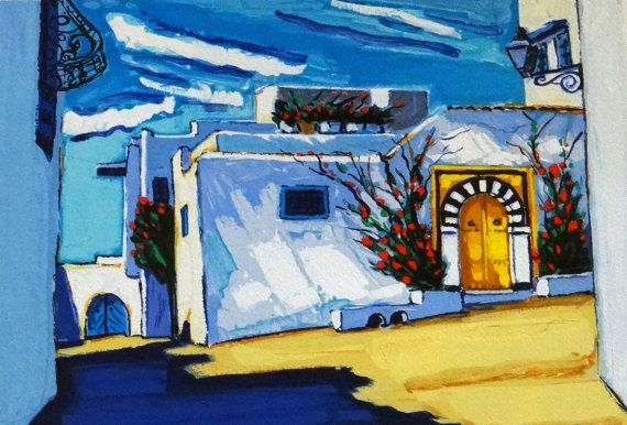 Arabian landscape, white houses, arabian nights, Sidi Bou Said, Tunisia, Jean-Claude QUILICI, Architecture, Arab  wall art, Maghrebi style
