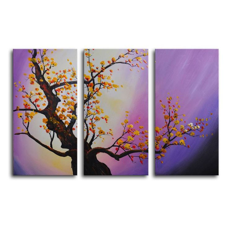 autumn leaves purple aura 3piece canvas wall art 36w x 24h in
