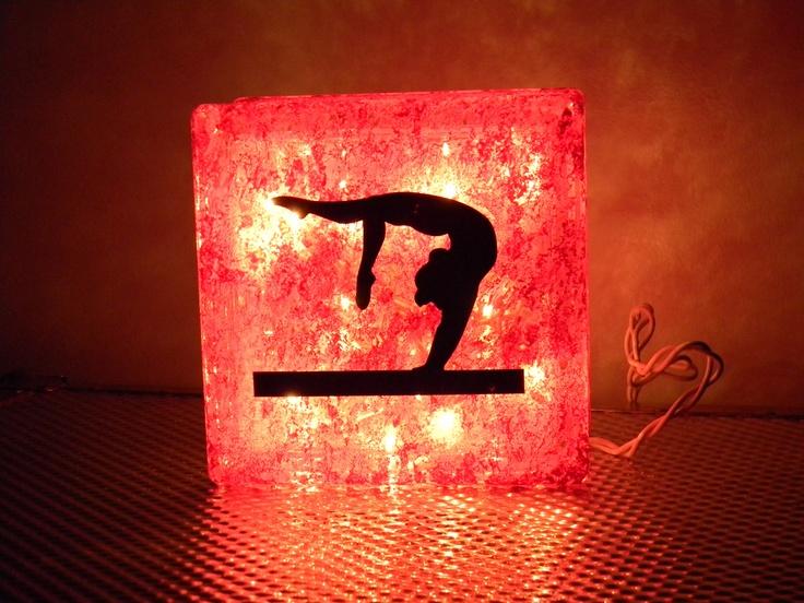 gymnastics lighted glass block night light decoration by karynrd80