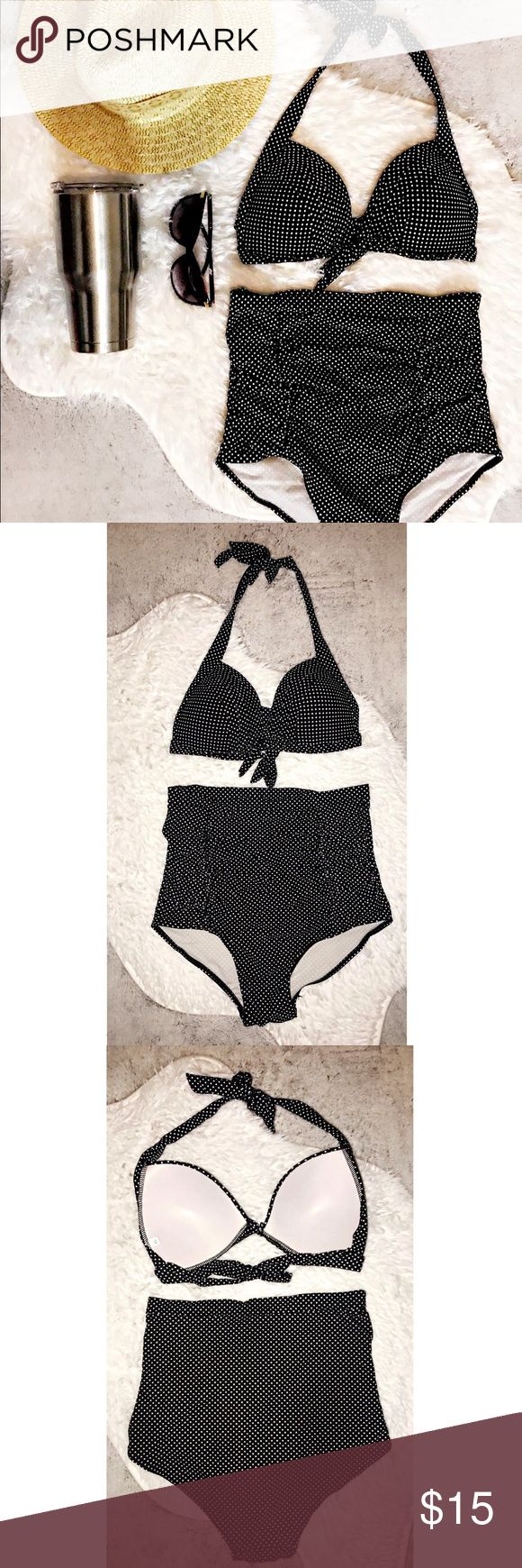 Black Polka Dot High Waisted Bikini Get a perfectly retro, beach-ready look with this black and white polka dot Monroe high-waisted bikini. Inspired by the famous (and fabulous) curves of Miss Monroe herself, these high-waisted bottoms will slim your waist, and tuck your tummy.  I purchased these and never wore. The tags have been removed but it's still brand new without tags. Top & Bottoms say XL. But definitely fit more like a Large or even a Medium. Top will fit up to a C Unique Vintage…