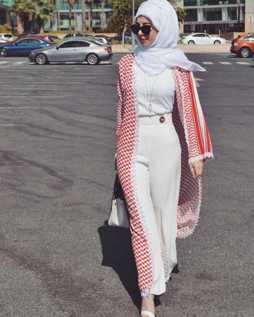 Open abaya cardigan with palazzo pants-Flowy and cute hijab outfits – Just Trendy Girls
