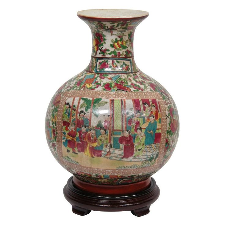 Oriental Furniture 12 In. Rose Medallion Porcelain Table Vase   BW VASE3 RMD
