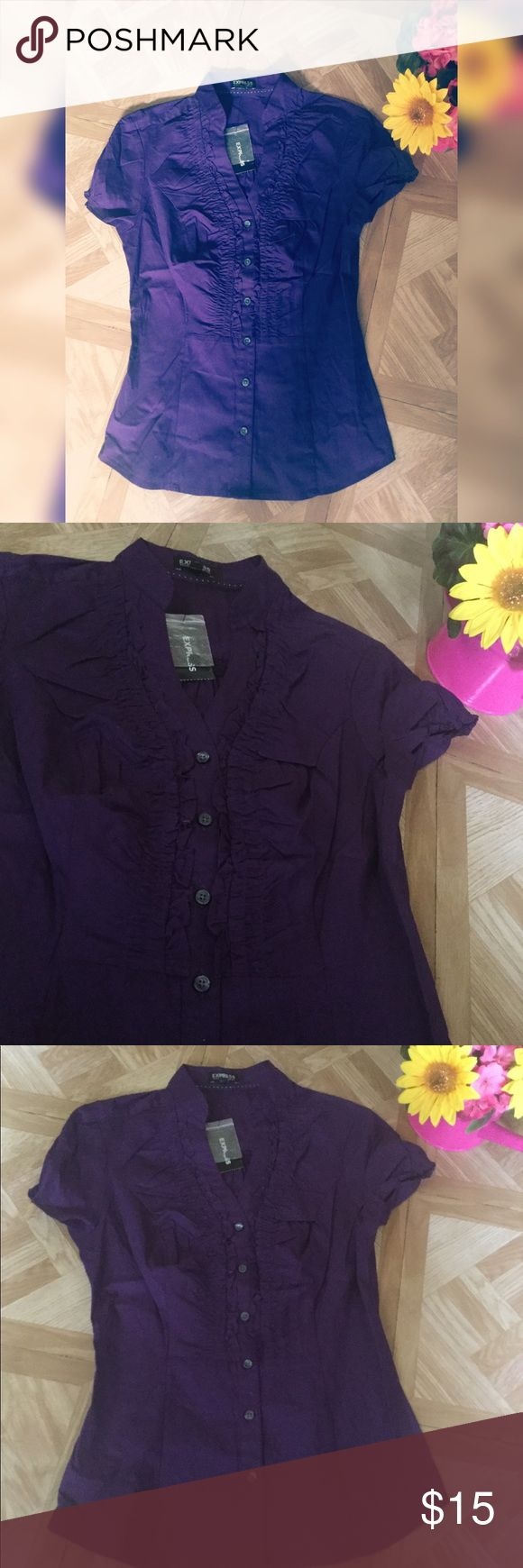Express Purple Blouse -NWT and in good condition - button down - soft -price is final Express Tops Blouses