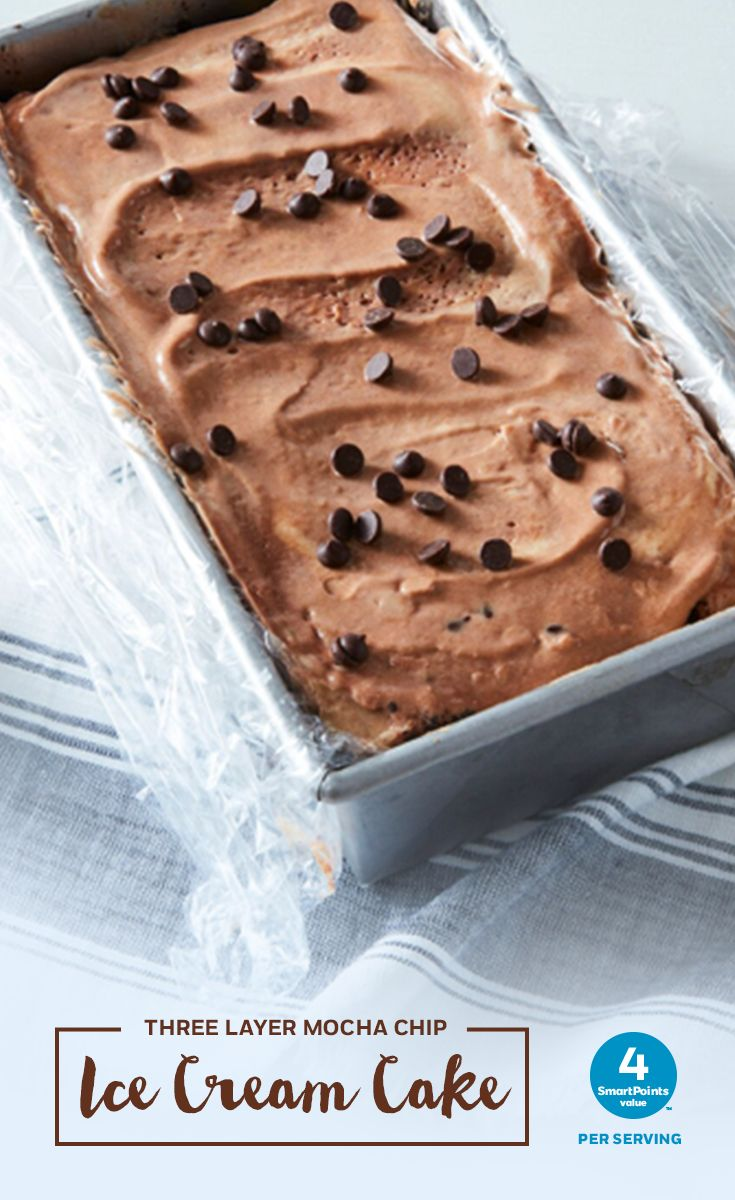 Cool off this summer with a slice of this Three-Layer Mocha Chip Ice Cream Cake. Click for the full mouthwatering 4 SmartPoints per serving recipe.