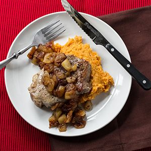 Pork Chops with Ginger Fried Apples and Mashed Sweet Potatoes