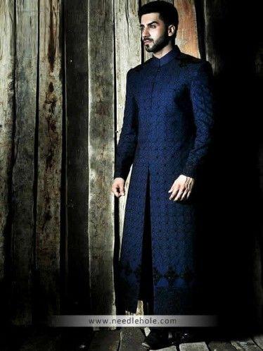 Midnight blue men's #sherwani in #raw silk fabric, heavy embroidered collar, front, hem and sleeves http://www.needlehole.com/midnight-blue-mens-sherwani-in-raw-silk-fabric.html #Amir adnan mens #sherwani suits and #wedding sherwani uk. Pakistani men's sherwani dresses, indian sherwani suits and salwar kameez by deepak perwani sherwani stores in uk