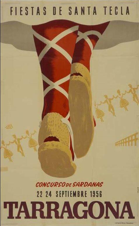 Spanish poster, 1956,  Fiesta de Tecla, Terragona.