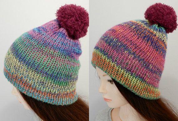 Knit pom pom reversible beanie hat, pom pom beanie women, knit cap, toque, beanie women, ski hat, knit beanie, knit skullcap. size S-L