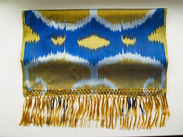 сине-желтый шелковый шарф ИКАТ-шойи, Узбекистан