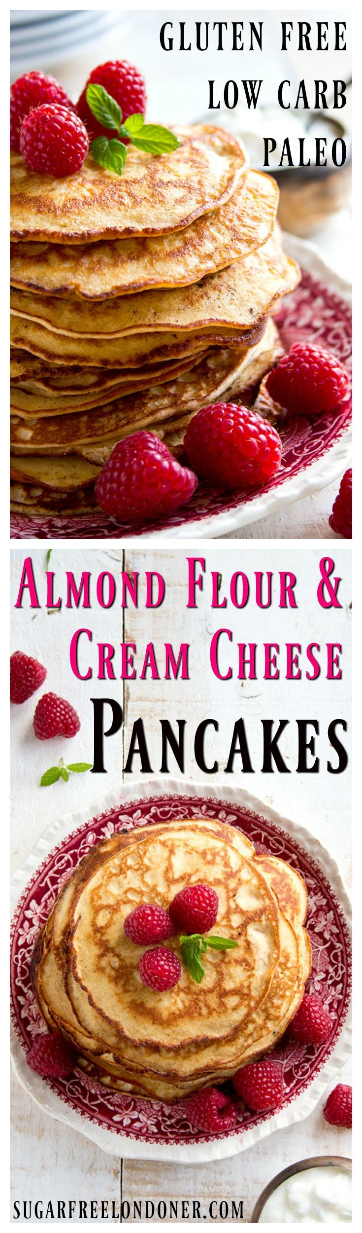 Light and fluffy pancakes that are low carb, gluten free and so easy to make: These Almond Cream Cheese Pancakes are a healthy sugar free breakfast choice.
