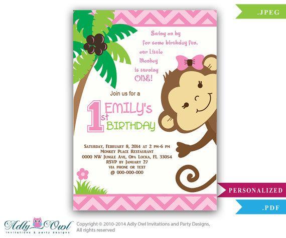 Girl Monkey Birthday Invitation, Jungle Girl First Birthday Card for a Birthday Celebration.Monkey in Jungle,second, third,chevron- oz02 on Etsy, $14.00