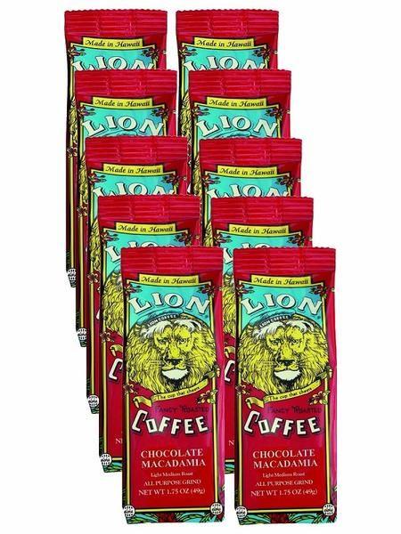 LION Hawaiian Coffee - Singles Chocolate Macadamia - 10pk - Hawaiianize with LION Hawaiian coffee. Your taste buds will say ALOHA with every sip. Ships direct from Hawaii to you! $16.50