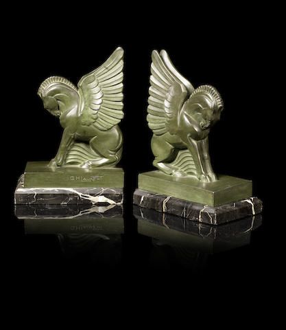 G.H.Laurent A Pair of Art Deco Pegasus Bookends, circa 1930