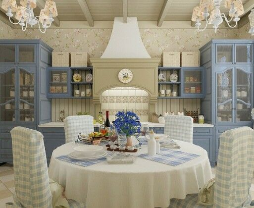 up-scale country kitchen powder blue cabinets and matching chandeliers