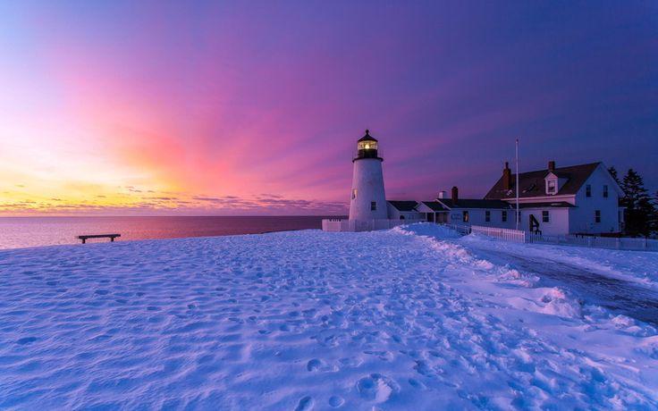 снег, зима, бристоль, маяк, англия