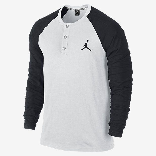 $55, White and Black Henley Shirt: Jordan Long Sleeve Henley Shirt by Nike. Sold by Nike. Click for more info: http://lookastic.com/men/shop_items/114424/redirect
