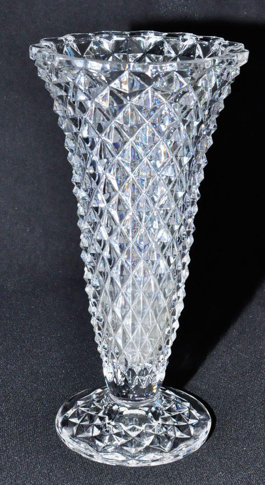 Vintage Diamond Point Brilliant Cut Glass Trumpet Vase Pedestal 8 5 Quot Pedestal Vintage And Vase