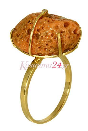 Χειροποίητο γυναικείο δαχτυλίδι από χρυσό 18 καρατίων με ημιπολύτιμη πέτρα (sponge)!! Ξεχωριστό γυναικείο δαχτυλίδι που θα κεντρίσει τα βλέμματα!