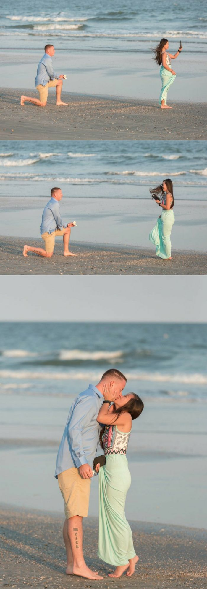 While she was taking a picture of the sunset, he was getting on one knee to propose.