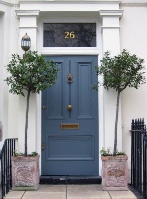 A nice blue panelled door with brass door furniture. For similar letter plate, door knocker and door knob, click below: http://www.priorsrec.co.uk/lions-head-brass-door-knocker-/p-3-24-25-101