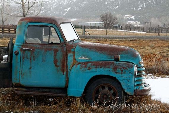 Old Chevy Winter Truck Art - Old Blue Farm Truck - Teal Chevy Vintage - Fine Art Home Decor - Photographic Print via Etsy