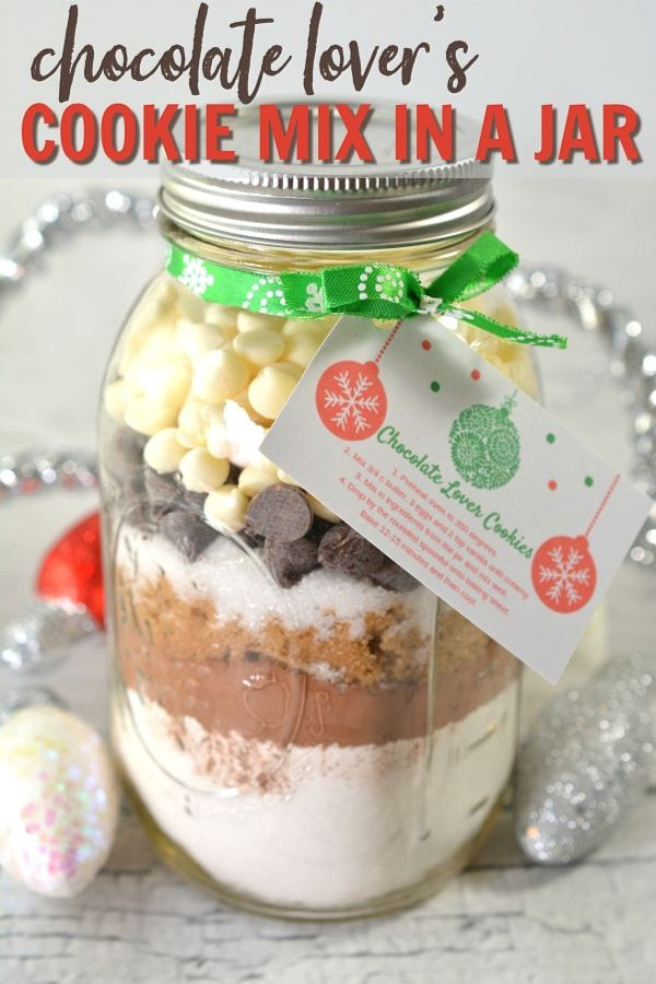 This Delicious Cookie Mix In A Jar Gift Is Perfect For Chocolate Lovers Comes With Free Printable T Mason Jar Cookies Mix Chocolate Chip Cookie Mix Cookie Mix