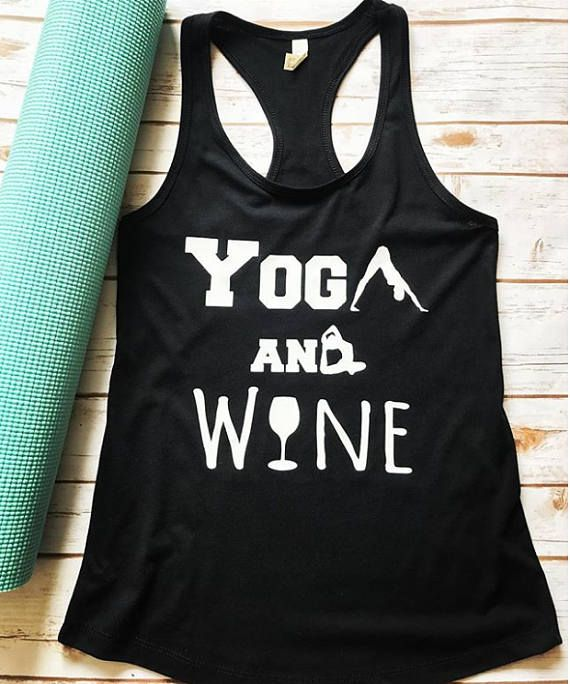 "WE are loving this Super Awesome Yoga and Wine tank! Great for when you aren't having just one glass of wine, but six! It's called a ""tasting"" and it's classy! ▼ABOUT THIS PRODUCT▼ AS PICTURED: Black Fitted Tank with White Vinyl wording. These are a super soft fitted tank and run"