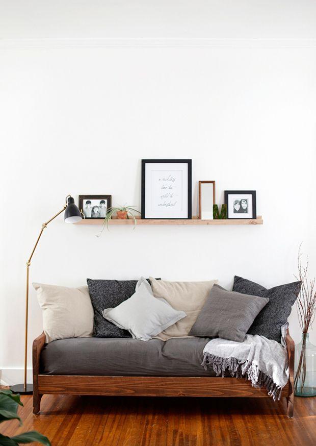 convierte cama sofá cómodo gris