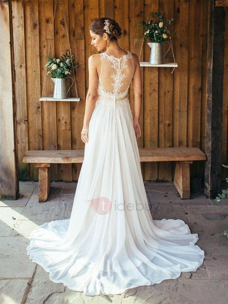 Charming Scoop Neck Appliques Button Beach Wedding Dress