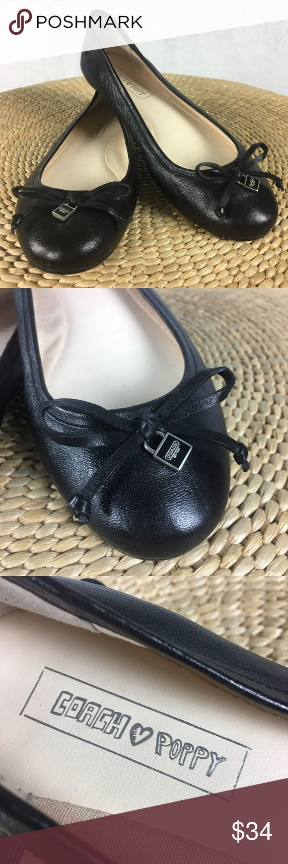 Coach Poppy Darling Ballet Black Leather Flats These lovely Darling flats from Coach are made of supple black leather and feature silver metal logo charms and tied leather bows on each shoe, along with signature imprinted soles. Minimal wear. Coach Shoes Flats & Loafers