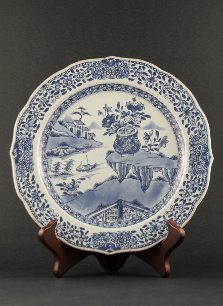Buddhist decor export plate. Qianlong (1736 - 1795) Blue and white export plate with religious decor of Vajra rocks and river scene, marked with an inverse seal mark to the reverse  #antique #chineseporcelain #blueandwhite