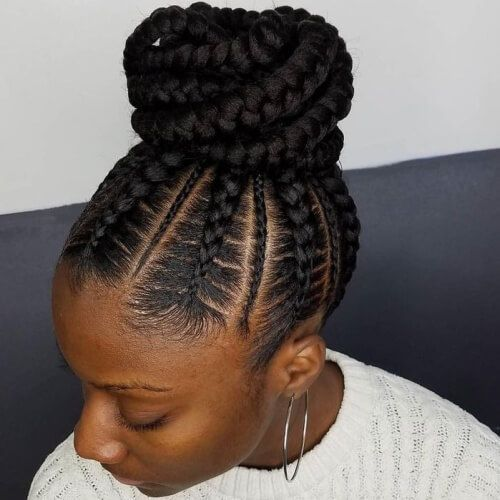 Image result for ghana braids bun
