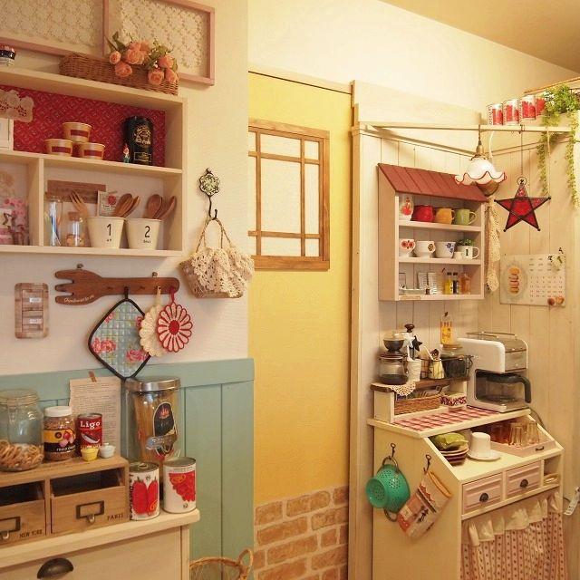 棚DIY/キッチン雑貨/ミルクガラスシェード/腰壁/マグカップ/雑貨…などのインテリア実例 - 2015-04-09 22:34:22 | RoomClip(ルームクリップ)
