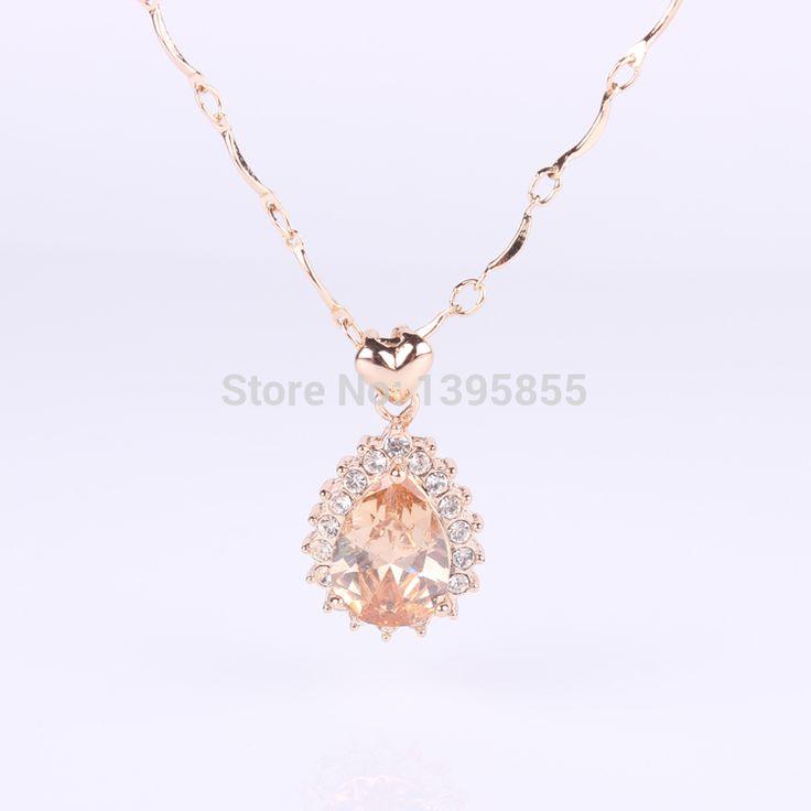 12 штук циркон ожерелье 14 K золото капля воды кулон ключицы цепь себе ювелирные изделия MGN073