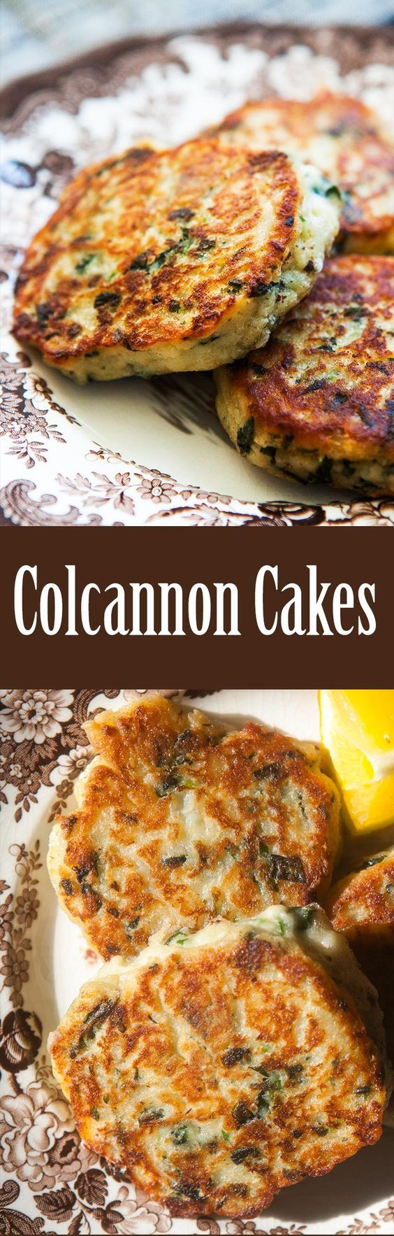 Colcannon cakes! These are fried potato patties made with colcannon—mashed potatoes with kale and green onions. So good! Perfect for St Patrick's Day. On SimplyRecipes.com