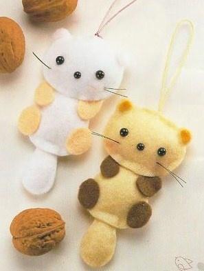 Gatinhos em feltro - By Kika Arts: Mais chaveiros de feltro com moldes...