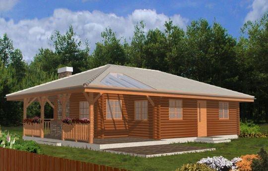 Projekt Pogodny drewniany to mały i ekonomiczny dom z bali drewnianych. Parterowy, niepodpiwniczony, o prostej i wyważonej bryle, dla czteroosobowej rodziny. Może być traktowany zarówno jako dom jednorodzinny, jak i letniskowy. Budynek posiada czytelny i funkcjonalny rozkład pomieszczeń oraz wyraźny ich podział na strefy: dzienną i nocną, co daje poczucie komfortu i wygody.