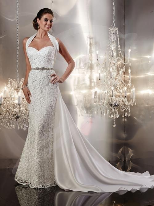 Balletts Bridal - 20580 - Wedding Gown by Jacquelin Bridals Canada - Strapless Slim Gown with Heavily beaded waist. Sweetheart Neck. Detachable Satin Shoulder wrap with train. Lower Zip Back with buttons