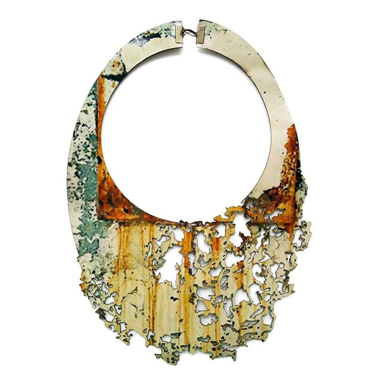 Rust inspiration necklace made from natural leather. Made from printed leather…