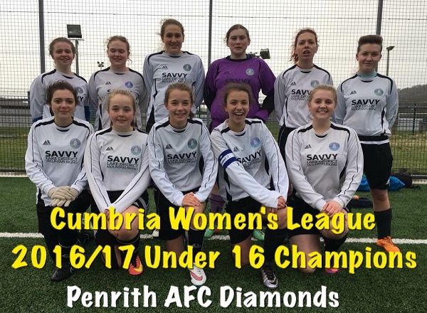 Penrith AFC Diamonds Crowned U16 Girls League Champions http://www.cumbriacrack.com/wp-content/uploads/2017/02/Diamonds-Champions.jpg With an emphatic 8-1 victory over Whitehaven, Penrith AFC Diamonds secured the 3 points they needed to clinch the league title.    http://www.cumbriacrack.com/2017/02/27/penrith-afc-diamonds-crowned-u16-girls-league-champions/