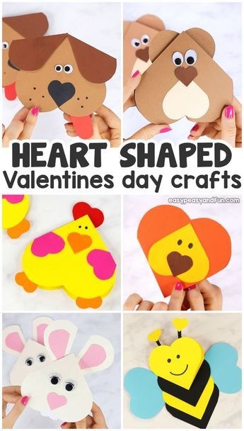 Valentines Heart Shaped Animals Crafts for Kids
